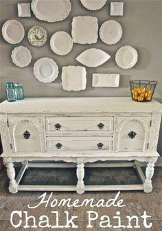 DIY::Homemade Chalk Paint vs. Annie Sloan Chalk Paint .Step by Step Comparison, plus copy recipe, tips, and Dresser tutorial