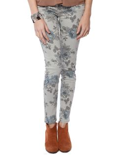 Floral pattern skinny jeans - these were popular in the 80's and I still love them!