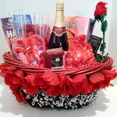 """Valentine's Day"" Evening That Will Last Forever Gift Basket A perfect moment of leisure to make your evening world wind of romance. This romantic evening basket includes. Edible thong for her, coupon his&her, bed of roses, sex game, candle, soap rose petals, champagne glasses, a long stem rose, warming sweet licks, sparkling red grape juice, hershey's chocolate kisses, or peppermint hard candy your choice and with our one of a kind finest decorative design basket just for you."