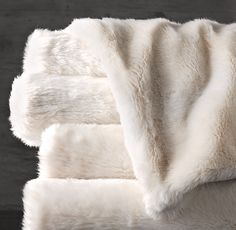 Restoration Hardware's Oversized Luxe Faux Fur Bed Throw - Arctic Fox:Our sumptuous queen-sized blanket is artfully woven from finely spun strands that re-create the natural weight, depth of color and indulgent softness of genuine fur. Fuzzy Blanket, Faux Fur Blanket, Faux Fur Throw, Fluffy Blankets, Fur Bed Throw, Bed Throws, Fur Oversize, Faux Fur Bedding, Queen Size Blanket