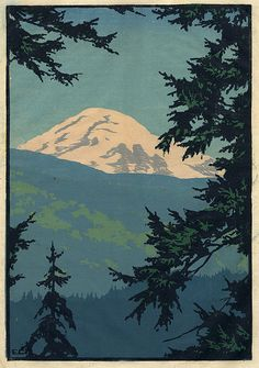 Elizabeth Aline Colburne (1885-1948) - Mount Baker, Washington. Woodblock Print. Circa 1928.