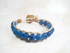 Blue Wrap Bracelet Leather Wrap Bracelet by SmileykitCreations, $35.00 #Etsy #fashion #wrapbracelet #jewelry