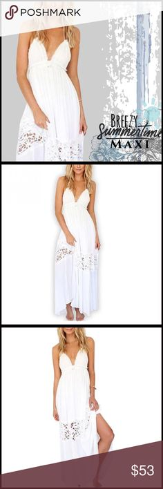 Breezy Summertime Maxi Dress Breezy lightweight Maxi dress; absolutely perfect design and so on-trend for summer; lightweight cotton material- I suggest wearing a cute healer bralette and a slip as it has some sheerness to it; available in size small to XL. Boutique Dresses Maxi