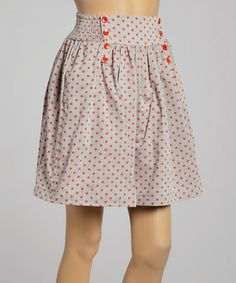 Look what I found on #zulily! Orange Polka Dot Pleated Skirt by Comme Toi #zulilyfinds