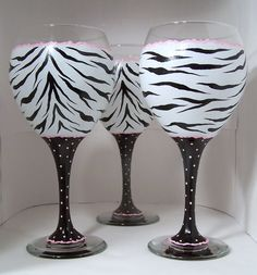 Hand Painted Wine Glass, Zebra w/Pink 2