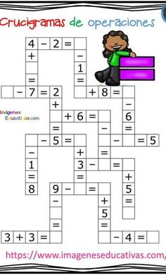 Crucigramas de operaciones sencillas - Imagenes Educativas MATHEMATIC HISTORY Mathematics is among the oldest sciences Kids Math Worksheets, Maths Puzzles, Learning Activities, Activities For Kids, 1st Grade Math, Kindergarten Math, Math For Kids, Math Lessons, Kids Education