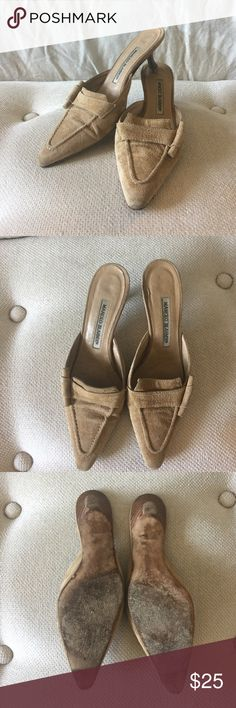 Manolo Blahnik Suede Mules with Toggle Euro size 36. Well worn and loved but they still have life in them! Manolo Blahnik Shoes Mules & Clogs