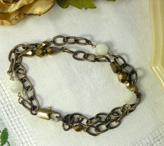 VIntage Mother of Pearl bead and chain bracelet by BloomsburyRoad