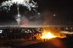 Fireworks and bonfire at the Sunrise Festival.