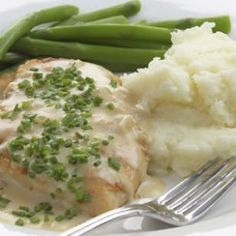 Sauteed Chicken Breasts with Creamy Chive Sauce Recipe, 240 calories per serving