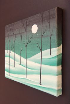 Snowy Night Wall Art, Winter Landscape Painting