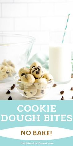 These easy no bake Cookie Dough Bites are made with a few simple ingredients! They are rolled into balls, eaten with a spoon or can be frozen!   The Bitter Side of Sweet Cereal Treats, No Bake Treats, Rice Krispie Treats, Rice Krispies, Easy No Bake Cookies, No Bake Cookie Dough, Edible Cookie Dough, Chocolate Peanut Butter Fudge, Chocolate Chip Cookie Dough