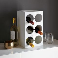 Save valuable counter and fridge space with the Lacquer Wine Rack from West Elm. #PfisterModernKitchen