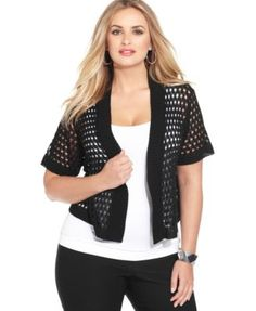 Ny Collection Plus Size Cropped Open-Knit Shrug