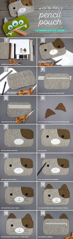 Get back-to-school ready with our template and tutorial to make zippered DIY pencil pouches! Our designs include a cute kitty and three-eyed green monster(Diy Bag Kids) Felt Diy, Felt Crafts, Diy Crafts, Crafts Cheap, Sewing For Kids, Diy For Kids, Sewing Crafts, Sewing Projects, Diy Projects