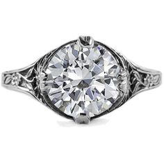 ApplesofGold.com - 9mm Round White Topaz Floral Design Vintage Style Ring in 14K White Gold Gemstone Jewelry $529.00
