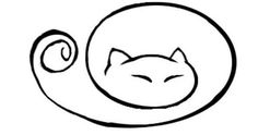 curled up kitty cat tat Line Drawing, Painting & Drawing, Simple Cat Drawing, Kitty Drawing, Drawing Ideas, Tatoo Art, Cat Outline Tattoo, Cat Crafts, Doodle Art