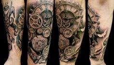 Resultado de imagen para tattoo roses black steampunk