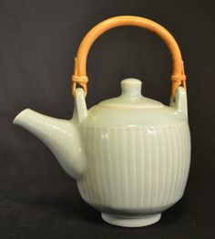 David Leach Fluted Porcelain Teapot, with fluted spout, stamped DL. UK, England