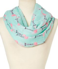 Look at this Frankie & Stein Pink & Blue Flamingo Infinity Scarf on #zulily today!