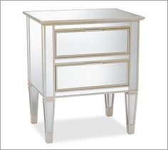 Park Mirrored 2-Drawer Bedside Table #potterybarn wall color   bed   lamps