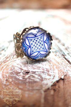Corfu Blue Boho Ring , Blue Hippie Bohemian Ring , Mediterranean Boho Ring, Blue Ceramic Bronze Ring by VintageRoseGallery Ocean Jewelry, Boho Jewelry, Jewelry Rings, Etsy Jewelry, Jewellery, Bohemian Rings, Hippie Bohemian, Fashion Rings, Fashion Jewelry