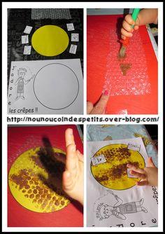 - Demain c'est la chandeleur, aujourd'hui activité peinture sur du papier bulle, puis on retourne et on imprime sur le gabarit de la crêpe + collage des ingrédients de la recette de la pâte a crêpe ! - Vous pouvez imprimer la fiche pour coller l'activité... Mardi Gras, Blog, Couture, Crafts For Kids, Haute Couture, High Fashion, Blogging