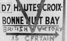Graffiti on a road sign on the Channel Islands during the German occupation.