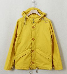 Yellow. Big buttons. With a bid hood.