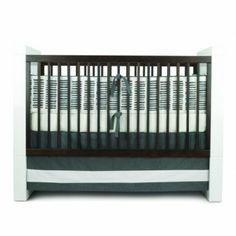 Oilo 3 Piece Crib Bedding Set  (Sticks Motif - Pewter) - www.rightstart.com
