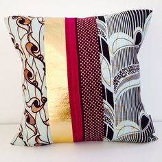 """Decorative African Kanga Pillow Cover 20""""x20"""" Cushion with Blocks of Plum Brown Stylized Bird Floral Motif Purple Maroon Polka Dots Gold Faux Leather. Tribal pattern galore! A She's Happy Design original."""