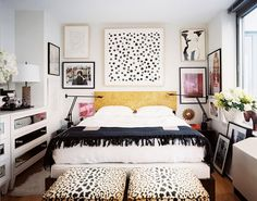 Small Bedroom | Black and White Layered Pattern and Texture. High Style