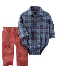 A button-front bodysuit tucks into twill denim for a handsome look. This easy set gets him dressed in a breeze!