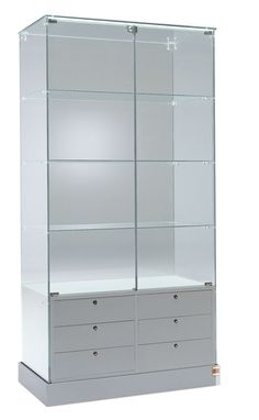 Practical glass display cabinet with drawers. Premier 100 Display Showcase, Glass Display Cabinets with Drawers Showcase Cabinet, Glass Showcase, Display Showcase, Crockery Cabinet, Cabinet Drawers, Glass Shelves In Bathroom, Display Shelves, Display Cabinets, Display Cases