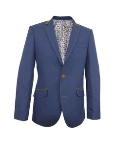Blazer CL1042 Blue  £170  100% Polyamid Lining Acetate twill Double button front Single back vent Welt pocket with flap Brown lining and stitching around lapel Four button cuff Three inside pocket Stamp pattern lining Dry clean only  http://claudioluglishirts.com/product/blazer-cl1037/