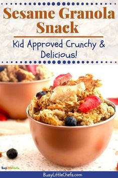 Crunchy Granola Snack is an easy and quick recipe to make with the kids, with lots of healthy ingredients included. It\'s great to add in their lunchbox, or as an after school snack. The kids love it! #kidfriendlyrecipe #granola #snack #afterschool #sesameseeds #healthy #recipe #busylittlechefs
