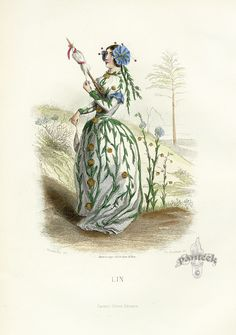 """""""Blue Flax"""" Grandville Fleurs Animees Antique Botanical Prints 1867"""