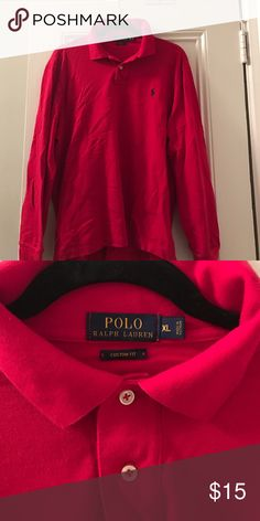 Polo Ralph Lauren custom fit long sleeve polo Polo Ralph Lauren custom fit long sleeve polo. Washed once Polo by Ralph Lauren Shirts Polos