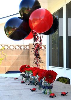A Party Fit for a Lady(bug) this is exactly what I plan on doing, going to use a ladybug mylar balloon for the top. Birthday Party Table Decorations, Birthday Party Tables, First Birthday Parties, Party Themes, Ideas Party, Birthday Ideas, Gold Party Decorations, Frozen Birthday, 2nd Birthday