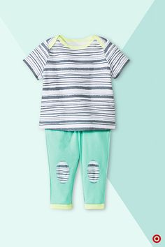 """Looking for fun new ways to dress your babe? Here's a gender-neutral 2-pc. set from Oh Joy! that's soooo cute and has its own adorably different, lovable style. Plus, you can mix and match each versatile piece with things you already have for Baby. The gray-and-white torn-stripe tee has a comfy, relaxed shape with neon yellow accents. Completing the set, mint green pull-on pants have knee """"patches"""" that match the tee. Scope out all the great choices at our online Oh Joy! shop."""
