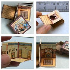 tiny folding doll house - mini repro version of 1890s McLoughlin's Folding Dollhouse - printable downloads & instructions here: http://openhouseminiatures.wordpress.com/2013/03/01/how-to-make-a-folding-dolls-house/