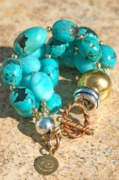 Chunky Multi-Strand Turquoise, Amazonite and Gold Designer Bracelet | XO Gallery