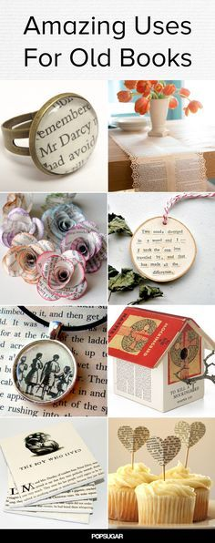 Upcycle your old books into lovely decor and jewelry!: Upcycle your old books into lovely decor and jewelry! Old Book Crafts, Book Page Crafts, Diy Old Books, Crafts For Book Lovers Diy, Old Book Art, Craft Books, Upcycled Crafts, Fun Crafts, Arts And Crafts