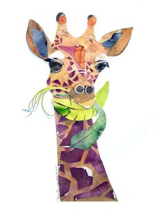 Geraldine Giraffe watercolor cuttings art print by by marleyungaro, $15.00