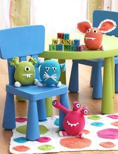 Monsters in Bernat Handicrafter Cotton Solids | Knitting Patterns | LoveKnitting
