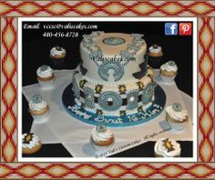 Navajo theme celebration cake - signature design entails edible squash blossom necklace and concho belt with southwestern motifss.  White cake with fruit filling and chocolate cake with chocolate mousse filling.