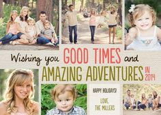 Show your 'Amazing Adventures' from the past year with this collage #Holiday Photo Card in coral pink