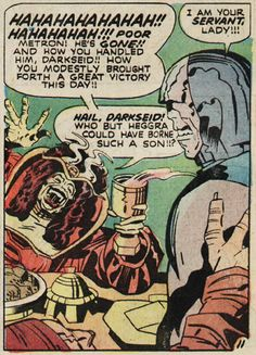 """comicsriot: """" ferenginar: """" comicsriot: """" Happy Mother's Day! Never forget that Darkseid, God of Evil and embodiment of the darkness inside each of us, has a loving relationship with his mother. Female Furies, Comic Art, Comic Books, Cartoon People, New Gods, Classic Comics, Jack Kirby, Jazz, Book Images"""