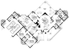 Creative Sante Fe-Style Home Plan - floor plan - Main Level Courtyard House Plans, Front Courtyard, House Floor Plans, New Mexico Homes, Adobe House, Spanish Style Homes, Southwestern Style, Home Design, Maine