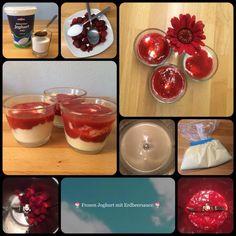 Frozen Joghurt *** Frozen Yoghurt 4 Portionen 500 g Joghurt, fettarm 50 g Zucker 1 EL Vanillezucker 1 TL Honig Erdberrsauce 200 g Erdbeeren, frisch oder TK, aufgetaut 1 EL Zucker 1 TL Limetten- ode…